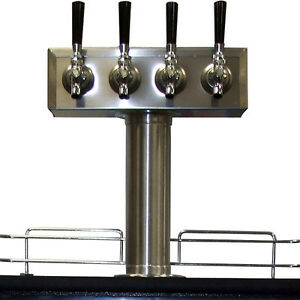Stainless Steel Draft Beer Kegerator T tower 4 Faucets Commercial