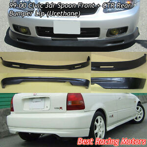 Spn Style Front Ctr Rear Bumper Lip urethane Fits 99 00 Honda Civic 3dr