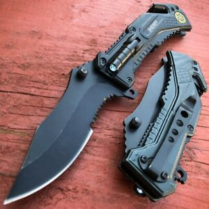 Military BLACK POLICE Spring Open Assisted LED Tactical Rescue Pocket Knife NEW $14.95