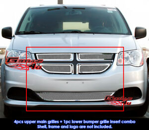 Fit 2011 2013 Dodge Grand Caravan Stainless Steel Mesh Grille Grill Insert Combo