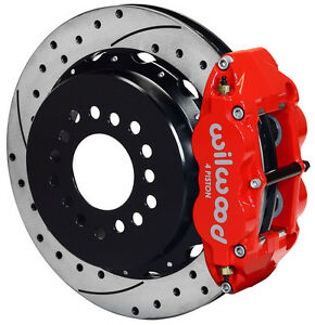 Wilwood Disc Brake Kit rear Parking gm chevy 2 75 13 Drilled Rotors red Calip