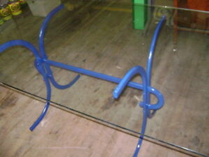 Blue Metal Frame Patio Table W Glass Top