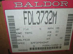 Baldor Ac Motor Fdl3732m 7 5hp 1725rpm 1ph 230v 60hz Tefc New Surplus