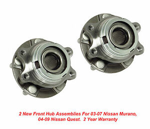 2 New Dta Wheel Hub Bearings Front Left Right Fits Nissan Quest Murano
