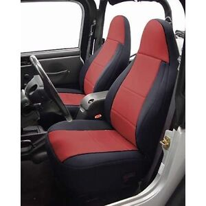 1997 2002 Jeep Wrangler Neoprene Front Rear Seat Covers Black Wiw Red Centers