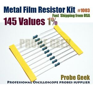 145 Values Total 2900pcs 20pcs Each 1 1 4w Metal Film Resistor Assorted Kit