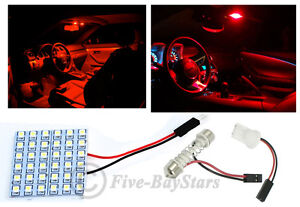 1x T10 Festoon Universal 36 Smd Plasma Red Led Panel Interior Dome Map Light