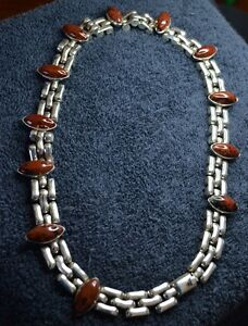 Sterling Silver Scrap Not 146 Grams Brown Marbled Stones Choker Necklace 16 5