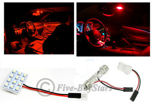 2x T10 Festoon Universal 12 Smd Plasma Red Led Panel Interior Dome Map Light