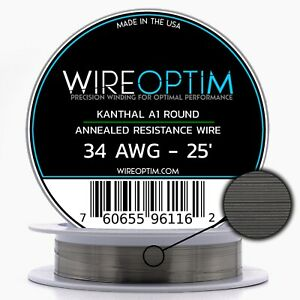 34 Gauge Awg Kanthal A1 Wire 25 Length Ka1 Wire 34g Ga 0 16 Mm 25 Ft
