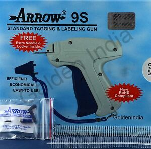 Arrow 9s Tag Gun 1 Extra Needle 2000 50mm 2 Barbs Clothing Price Label Taggers