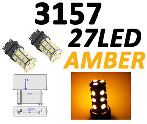 3156 3157 T25 27 Smd 5050 Led Yellow Amber Tail Turn Signal Car Light Bulb Lamp