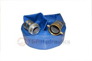 2 X 50 Ft Blue Water Discharge Hose W pin Lug Threaded Fittings