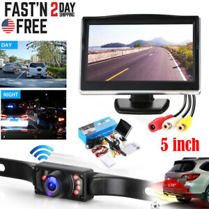 Wired 5 Monitor Car Rear View System Backup Reverse Camera Night Vision Kit