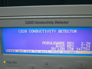 Dionex Cd20 Conductivity Detector Model Cd20 1 powers On
