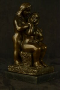 Curvy Nude Voluptuous Women Real Bronze Figurine Statue Sculpture On Marble Base