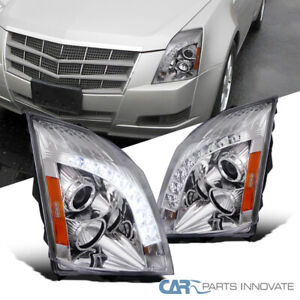 08 14 Cadillac Cts Replacement Clear Smd Led Strip Projector Headlights Pair