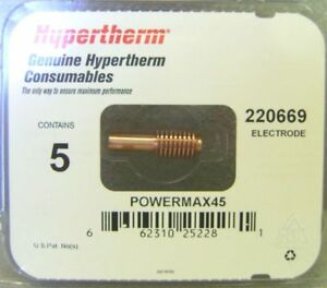 Hypertherm Genuine Powermax 45 Electrodes 5 Pack 220669