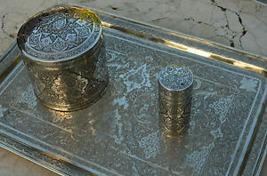 Antique Qajar Rasht Persian Solid Silver Trey Tea Caddy S Set Museum Quality