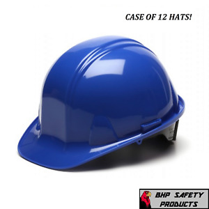 12 Hats Pyramex Cap Style Safety Hard Hat Blue 4 Point Ratchet Construction