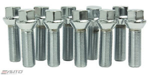 10x 60mm Ichiba 14x1 5 M14 P1 5 Wheel Rim Extend Long Lug Bolt Taper Silver A
