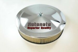 14 Round Muscle Car Chrome Air Cleaner Breather Street Hot Ratrod Recessed Drop