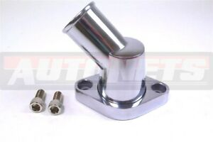 Polished Aluminum Chevy Small big Block Water Neck Thermostat Housing 45 Swivel