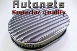 12 Oval Fin Polish Aluminum Air Cleaner Filter Chevy Ford Gm Hotrod Nostalgic