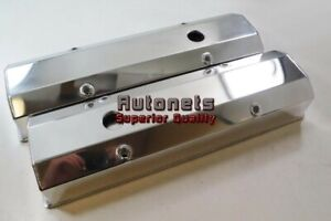 Polished Fabricated Aluminum Small Block Chevy Valve Covers Sbc 283 350 Hot Rod