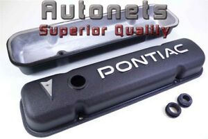 55 81 Pontiac Logo Black Powder Coat Cast Aluminum Valve Cover 287 326 400 455