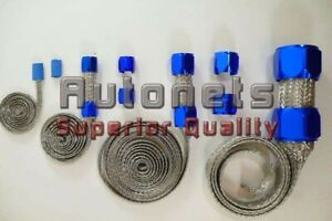 Blue Stainless Steel Braided Vacuum Radiator Fuel Heater Hose Cover Sleeving