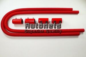 44 Flexible Stainless Heater Hose Kit Red Aluminum End Cap Chevy Ford Gm Hotrod