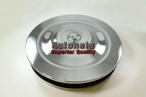14 x2 Round Mustang Style Washable Element Chrome Air Cleaner Chevy Ford Flat