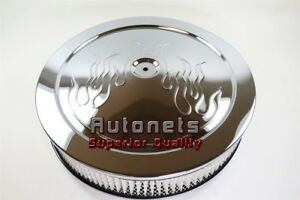 14 Round Flame Chrome Steel Air Cleaner Muscle Car Style Chevy