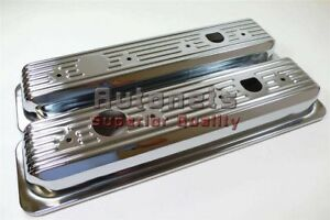 1987 Up Sb Chevy Chrome Center Bolt Valve Covers Short 305 350 5 0l 5 7 V8 Sbc