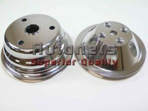 Small Block Chevy Lwp Polish Aluminum 1 Single Groove Water Pump Crank Pulley