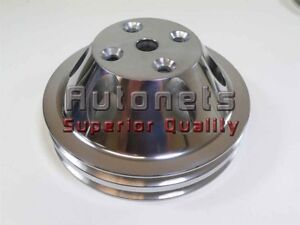 Polish Billet Aluminum Small Block Chevy Long Water Pump Pulley 2 Double Groove