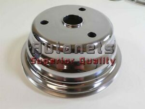 Polish Aluminum Small Block Chevy Crank Pulley 1 Groove Lwp Long Water Pump 350