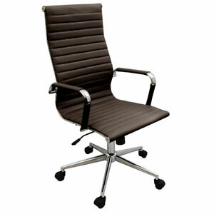 New Coffee Brown Modern Executive Ergonomic Ribbed High Back Office Desk Chair