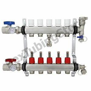 5 branch Pex Radiant Floor Heating Manifold Set Stainless Steel For 1 2 Pex