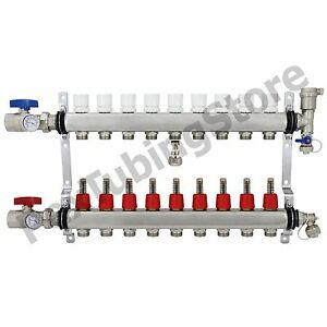 9 branch Pex Radiant Floor Heating Manifold Set Stainless Steel For 1 2 Pex