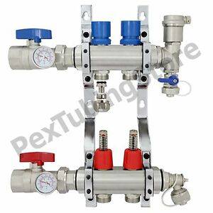 2 branch Pex Radiant Floor Heating Manifold Set Brass For 3 8 1 2 5 8 Pex