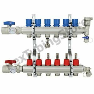 6 branch Pex Radiant Floor Heating Manifold Set Brass For 3 8 1 2 5 8 Pex