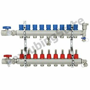 9 branch Pex Radiant Floor Heating Manifold Set Brass For 3 8 1 2 5 8 Pex
