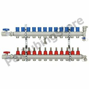 12 branch Pex Radiant Floor Heating Manifold Set Brass For 3 8 1 2 5 8 Pex