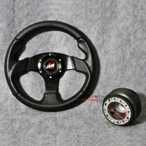 280mm Steering Wheel Whole Black Pvc Leather Carbon Look Hub Adapter Jdm Horn