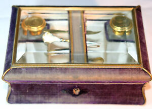 Complete Antique C1900 S 8pc Box W 5 Sewing Tools 2 Bottles