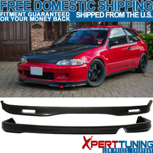 Fits 1993 1995 Honda Civic Eg 2dr Urethane Spoon Front Rear Bumper Lip Bodykit