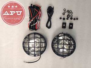 Universal Off Road Fog Lights For Bull Bars Grill Guards Black 5 Round Set