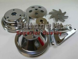 Polished Aluminum Sbc Chevy Long Water Pump Pulley 2 Groove Crank Alternator Kit